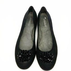 AEROSOLES  ▪ Black Suede Flats toes adorn w/ beads